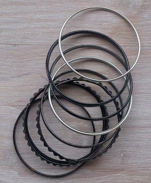 Armreifen Set silber schwarz