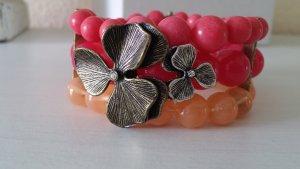 Armschmuck gold, orange, pink mit Blüten von FOSSIL