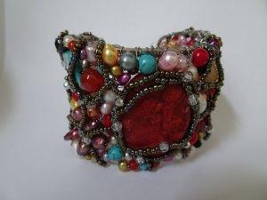 Armspange mit Farbsteinen und Perlen**Neu**