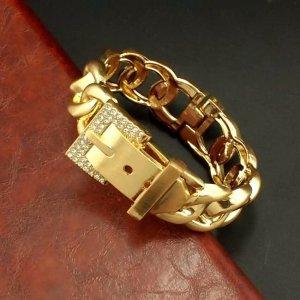 Armspange mit Gürtelverschluss 18 Karat Gold überzogen mit Strass Schmuck Neu