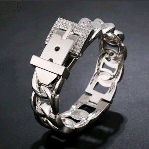 Armspange mit Gürtelverschluss 18 Karat Silber überzogen Strass Schmuck ++ Neu ++