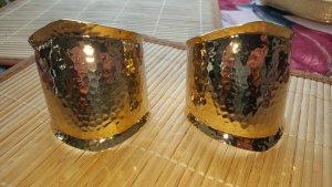 Armspange Set 2 Stück goldfarben gehämmerte Struktur