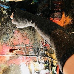 Armstulpen feine graue Merino Wolle mit Silbereinsatz