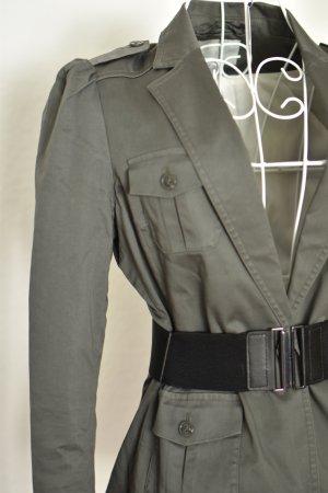 Army Khaki Blazer mit Taschenbesatz und Tailengürtel