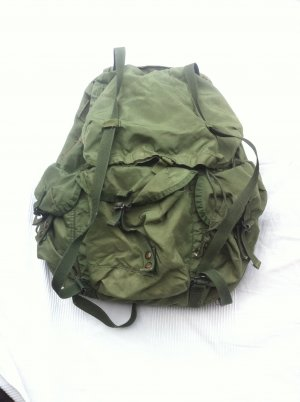 Trekking Backpack olive green-khaki synthetic material