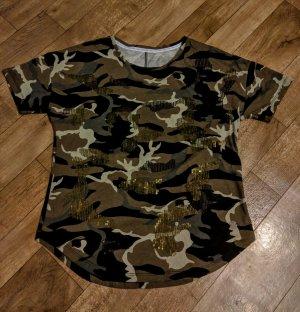 Army Style Pailletten Shirt Neu reine Baumwolle