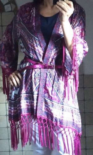 Arnhem Azalea Kimono in tiefem Rosa/Pink/Fuchsia, mit weißen, zarten Rosa- und Violettönen, Layering Look, Fransen, Bohemian, wunderschön, floral, NP € 160,- NEU, Gr. M/L