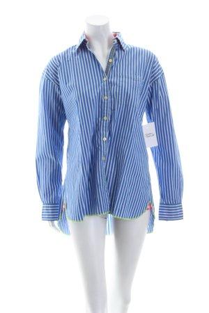 Arnold Zimbuy Langarm-Bluse blau-weiß Streifenmuster klassischer Stil