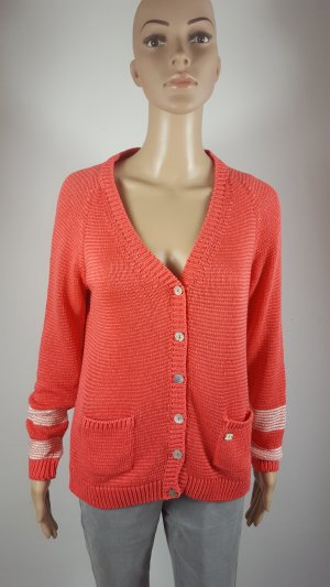 Arqueonautas Knitted Cardigan salmon-white