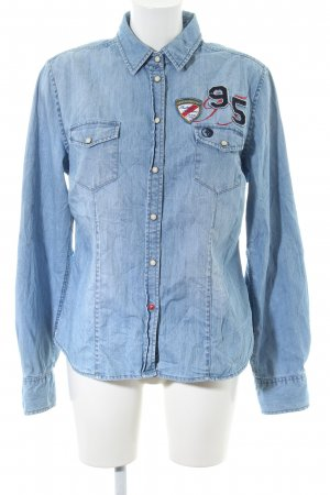 Arqueonautas Denim Shirt blue themed print casual look