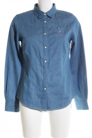 Arqueonautas Denim Shirt blue printed lettering casual look