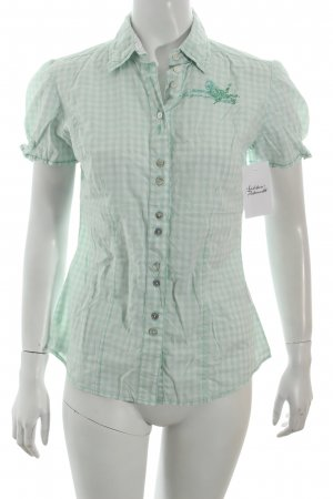 Arqueonautas Checked Blouse white-pale green check pattern casual look