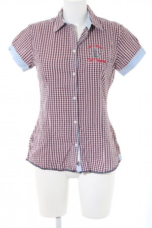 Arqueonautas Short Sleeved Blouse red-white check pattern business style