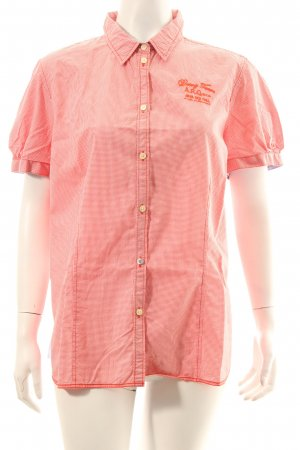 Arqueonautas Short Sleeved Blouse bright red-white check pattern athletic style