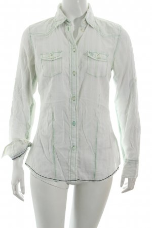 Arqueonautas Long Sleeve Blouse white-pale green striped pattern casual look