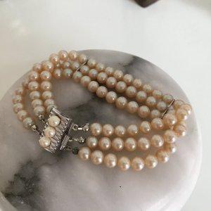 Art Deco 3-reihig echt Akoya Perlen Perlenarmband Armband Echtsilber Zuchtperlen