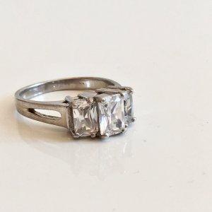 Art Deco 925 Silber Ring 3 x facettiert Bergkristall Silberring Sterling