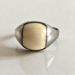 Art Deco Antik 925 Sterling Silber Ring echt Bein Cabochon Silberring