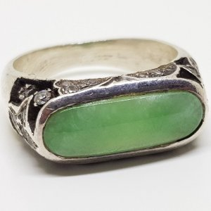 Art Déco Ring 925 Silber ring Jade Silberring Vintage Sterling edelstein cabochon