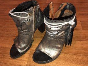 AS98 Sandalias romanas color plata-negro