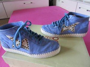 AS98 Basket à lacet bleuet-bleu fluo cuir