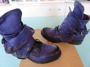 AS98 Zipper Booties dark violet-steel blue leather