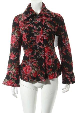 Asena Kleider Wolljacke schwarz-rot florales Muster Vintage-Look