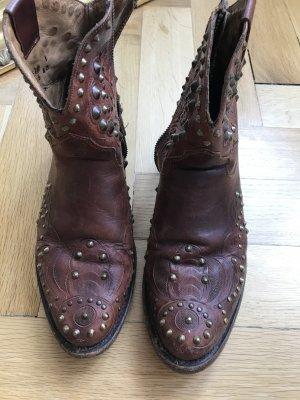 Ash Biker Boots Congnac Leder Goldene Nieten 40