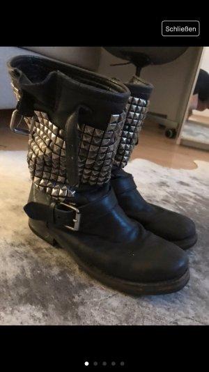 ASH Boots black-silver-colored