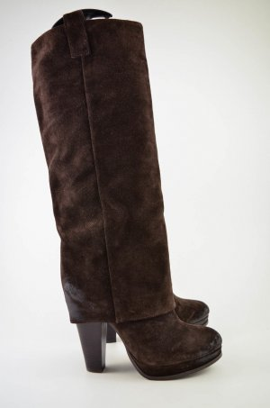 ASH Platform Boots dark brown-brown leather