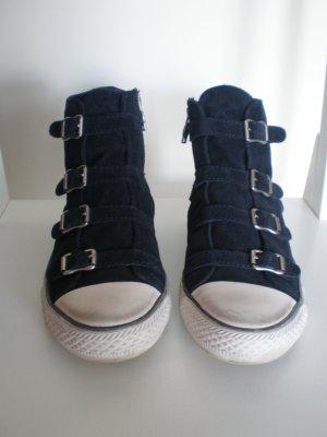 ASH hoher Sneaker mit Schnallen Gr. 39 Dunkelblau Wildleder