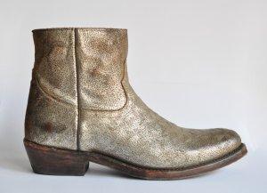 Ash Italia KUT STAR Stiefel Biker Boots Leder Used / Vintage Look gold Gr. 40