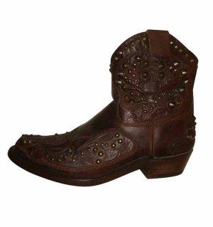 Ash Kendra Ancle Boots Stiefeletten Leder Echtleder braun Nieten 37 37,5