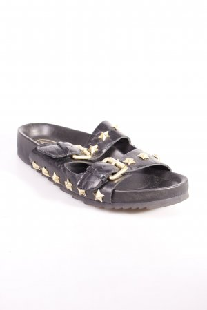 ASH Komfort-Sandalen schwarz-goldfarben Sternenmuster Casual-Look