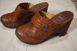 ASH Mule à talon brun-cognac cuir