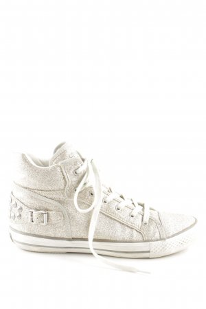 ASH Lace-Up Sneaker cream-gold-colored glittery