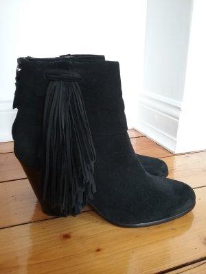 ASH Stiefelette 39,5 schwarz Fransen Leder wNEU 1xgetragen Boots Görtz