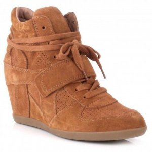 Ash Thelma High Wedge Leather Trainer Dark Camel _Size 41