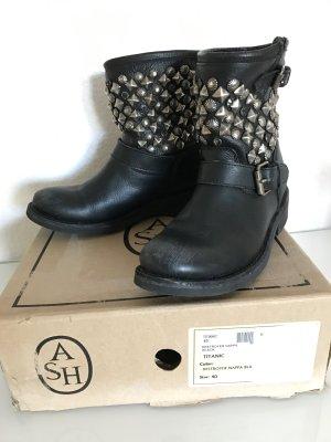 ASH Titan Leder Boots mit Nieten Strass schwarz Gr 40 NP389€