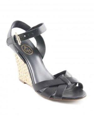 ASH Wedges Gr. 36 Schwarz Leder Keilabsatz Sandalen