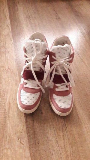 Ash Wedges Wedgesneaker Keilabsatz Rosa Pink Weiß Leder Wildleder