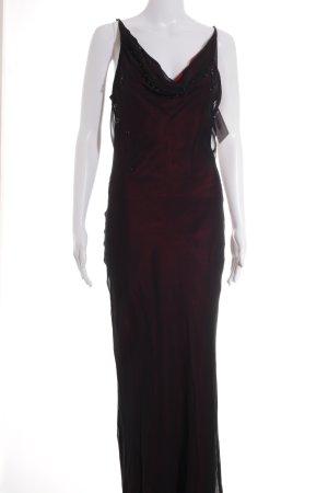 Ashley Brooke Vestido de noche negro-carmín elegante