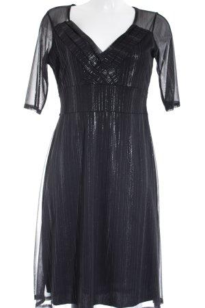 Ashley Brooke Abendkleid schwarz-silberfarben Streifenmuster Elegant
