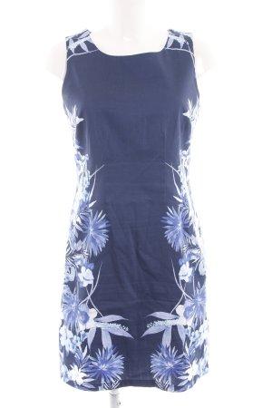 Ashley Brooke Etuikleid blau-weiß Blumenmuster Casual-Look