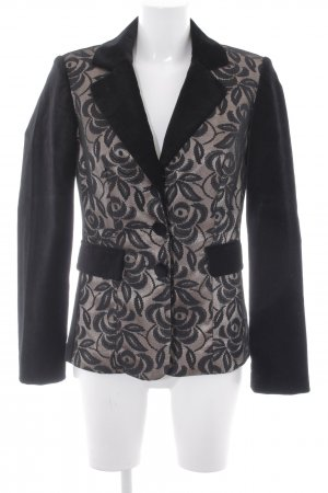 Ashley Brooke Blazer court noir-crème motif de fleur style d'affaires