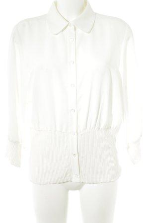 Ashley Brooke Blusa de manga larga blanco puro elegante