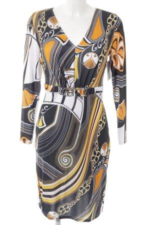 Ashley Brooke Vestido de manga larga estampado con diseño abstracto elegante