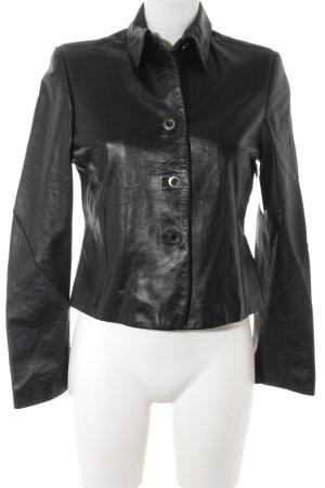 Ashley Brooke Veste en cuir noir style décontracté