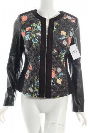 Ashley Brooke Lederjacke schwarz florales Muster Casual-Look