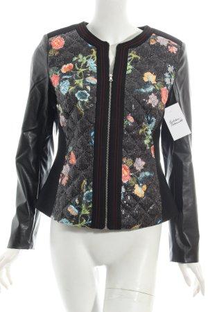 Ashley Brooke Lederjacke schwarz florales Muster Casual-Look